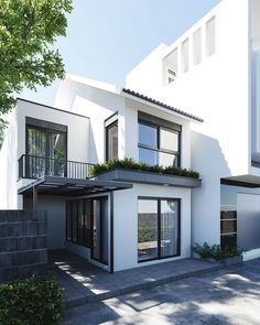 Casas Pequenas: +80 Fotos de Fora e de Dentro para Inspirar 2020 Minimalist House Design, Minimalist Home, Modern House Design, Narrow House Designs, Modern Houses, Design Exterior, Facade Design, Architect Design House, Townhouse Designs