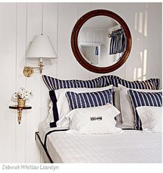 CHIC . LITTLE . BLOG: Inspirational Interiors: Blue and White Beach Chic  The mirror is on my wish list.