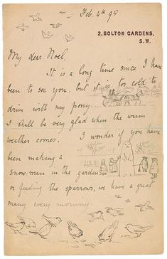 The Morgan Library & Museum Online Exhibitions - Beatrix Potter: The Picture Letters - Letter to Noel Moore, February 4, 1895, page 1
