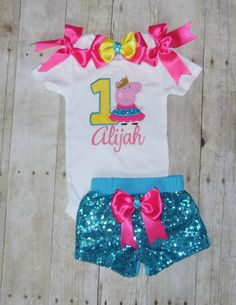 Check out this item in my Etsy shop https://www.etsy.com/listing/470452597/peppa-pig-birthday-outfit-peppa-pig