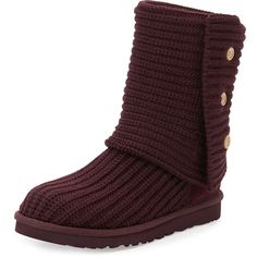 UGG Australia Classic Cardy Crochet Boot ($150) ❤ liked on Polyvore featuring shoes, boots, uggs, knee-high boots, port, traction shoes, knee high boots, knee boots, crochet shoes y button boots