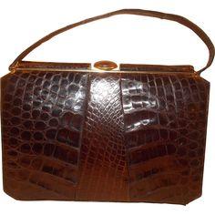 Huge 1940 S Vintage Glossy Brown Alligator Skin Handbag Glossier Crocodile 1940s Desomorphine