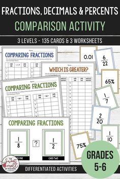 Develop your students' understanding of fractions, percents and decimals with these engaging activities. Students will use their analytical skills and prior knowledge to compare values to either greater than, less than or equal to. Math Activities, Teacher Resources, Teacher Tools, Classroom Resources, Math Games, Classroom Tools, School Resources, Math Worksheets, Comparing Fractions