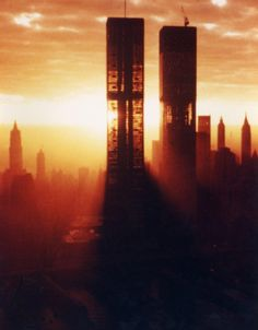 Sunrise Photo of the Twin Towers during construction - This photo, taken at sunrise in 1972, is a rare and beautiful look at the towers under construction the year before the WTC's ceremonial opening on April 4, 1973.