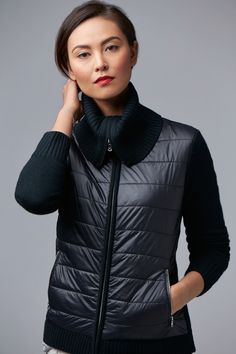 Nautica Women's Quilted Sweater Jacket. Sweater meets jacket. Luxe ribbed wool is given a sporty touch with a panel of quilted nylon, which not only doubles the style but the function, too. Wear as your last layer or zip up over a tee in place of a cardigan. This piece comes specially packaged for holiday gift-giving.