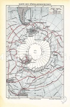 1896 The Antarctica and South Pole with South America and Australia Antique Map on Etsy, $11.90