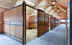 Stall mit großen Boxen aber die Boxen oben so offen das die Pferde ihre Köpfe raus strecken können. Wenn die Pferde sich gut vertragen können sie auch gemeinsam in eine ganz große Box