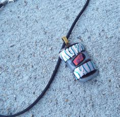 Fused Glass Necklace Dichroic Glass Pendant by FancyThatFusion