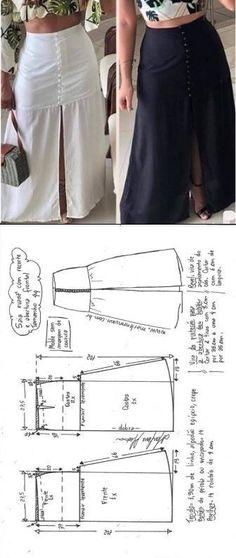 Saia longa evas com abertura frontal DIY - molde corte e costura - Marlene Mukai Diy Clothing, Sewing Clothes, Clothing Patterns, Dress Patterns, Modest Clothing, Clothing Stores, Modest Outfits, Skirt Outfits, Fashion Sewing