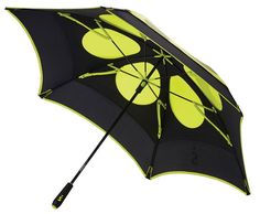 This double canopy golf umbrella has everything you need to keep dry from the elements. The combination of the aluminum shaft, energy-absorbing shocks on the ribs, and the double canopy create a strong, durable, wind resistant umbrella.