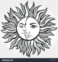 Find Bohemian Sun Moon Tattoo Designvector Illustration stock images in HD and millions of other royalty-free stock photos, illustrations and vectors in the Shutterstock collection. Sun Moon, Moon Sun Tattoo, Sun Tattoos, Body Art Tattoos, Sun And Moon Mandala, Tattoo Sol E Lua, Sun And Moon Drawings, Tattoo Sonne, Sun Tattoo Designs