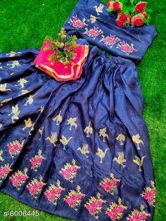 Chitrarekha Ensemble Women Lehenga  Topwear Fabric: Banglori Satin Bottomwear Fabric:Banglori Satin Dupatta Fabric: Net Set type: Lehenga, Choli And Dupatta Top Print or Pattern Type: Embroidered Sizes:  Semi Stitched (Lehenga Waist Size: 46 in, Lehenga Length Size: 46 in,  Lehengha:2.50 mtr, Duppatta Length Size: 2.5 m ,Lehengha Inner::2 mtr Blouse(Choli) :1 mtr) New Lehenga Choli, Brocade Lehenga, Ethnic Gown, Co Ord Sets, Trolley Bags, Flip Flop Slippers, Islamic Clothing, Baby Pillows, Body Jewellery