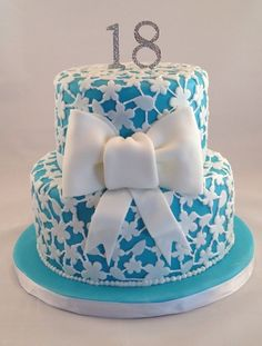 Turquoise and white hand cut flowers and piped cake ~ all edible