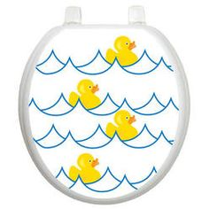 Toilet Tattoos Youth Rubber Ducky Toilet Seat Decal   Size: Round, Finish:  White