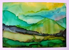 Marja's Stamp Addiction / PURITY  - Alcohol Inks on Yupo