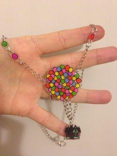 Flying house necklace - shrinky dink - plastico magico - plastique fou