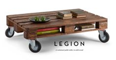 Coffee table with wheels.