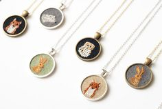 embroidered necklaces by Nguyen of Knit Knit