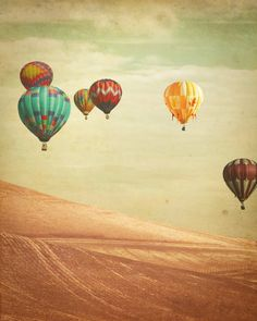 Hot Air Balloon Photography - Wanderers - Fine Art Photograph of Hot Air Balloons floating in England. $30,00, via Etsy.