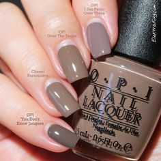 (pinkie to index) OPI You Don't Know Jacques ; Chanel Particuliere ; OPI Over The Taupe ; OPI I Sao Paolo Over There ; 6/13/14