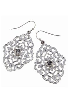Silver Tone Rhinestone Embellished Filigree Earrings