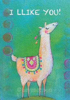 Kartenset 5 Postkarten | Etsy Llama Llama Red Pajama, Cute Llama, Llama Alpaca, Baby Alpaca, Alpacas, Llama Drawing, Llama Face, Watercolor Projects, Hand Painted Canvas