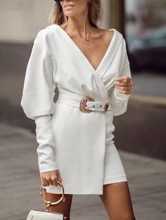 Leg-of-Mutton Sleeve Wrap Blazer Dress cocktail dresses,formal dresses,dresses for girls,party dress Women's Dresses, Elegant Dresses, Casual Dresses, Fashion Dresses, Girls Dresses, Dresses For Work, Summer Dresses, Party Dresses, Corset Dresses