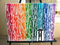 Lesbian Wedding Gift, Lesbian Art, Rainbow Raindrops Melted Crayon Art, Lesbian Girlfriend Gift, Couple Silhouette Art, Wax Painting 16x20