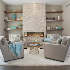 Bring remarkable style and functionality to your home with the Empire Boulevard Contemporary Ventless Gas Fireplace - 48 Basement Fireplace, Fireplace Wall, Living Room With Fireplace, Fireplace Surrounds, Stone Wall Living Room, Fireplace Ideas, Living Room Fire Place Ideas, Fireplace With Shelves, Beach Fireplace