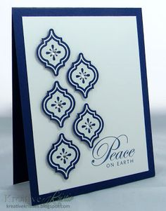handmade Christmas card from Kreative Kristie: CAS(E) this sketch! #37 ... clean and simple design ... navy and white ... Mosaic Madness tiles stamped, punched and poppin in 3 and 2 arrangement ... like how the Peace sentiment fits in to the design ... lovely card ... Stampin' Up!