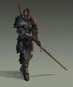 Fantasy Fighter, Fantasy Armor, Dark Fantasy Art, Medieval Fantasy, Dungeons And Dragons Characters, Dnd Characters, Fantasy Characters, Armor Concept, Weapon Concept Art