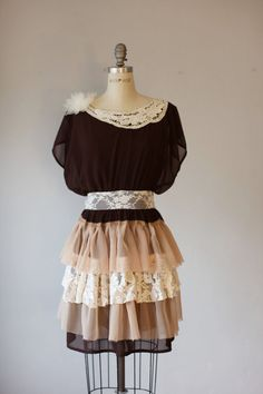 Upscale  dress DIY fashion ,bohemian vintage style,ooak romantic on Etsy, $135.00