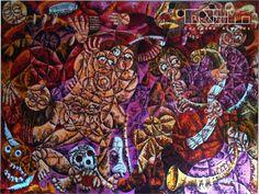 "Pintura "" Guerra , Sexo e Música "" - 2004 Óleo sobe tela 230x160 cm | Autor: Custódio Almeida / VENDIDO"