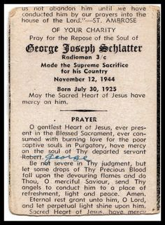 Funeral Card Friday - 19-Year-Old George J. Schlatter #genealogy #familyhistory