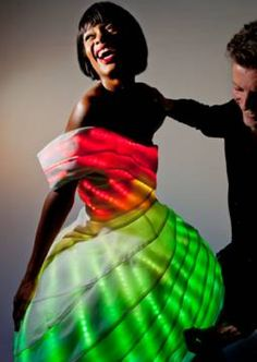The NEMO led dress, created by Dutch designer and couturier Leon Klaassen Bos