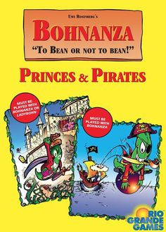 Bohnanza: Princes & Pirates is an English language compilation of two Bohnanza expansions previously available only in German: Bohnröschen and La Isla Bohnitâ.  In Princes, players are a Bean Prince and must get to their sleeping beauty. This is done by fulfilling quests to cross the thorn hedges to get to the castle where she awaits.  In Pirates, players can now buy ships in order to help them trade and sell beans. You can also purchase pirate ships which you can u...