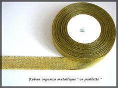 Ruban organza paillette fil métallique couleur or glitter : Rubans par lapetiteboutiquepourlescreatifs