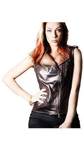 Il gilet di pelle bicolore da donna è un capo pratico e comodo 4b2973896eb