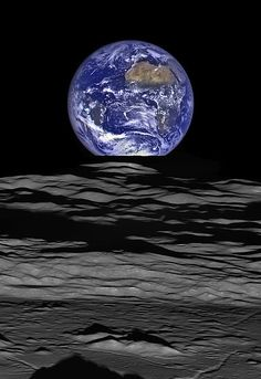 The Earth straddling the limb of the Moon, as seen from Lunar Reconnaissance Orbiter above Compton crater.