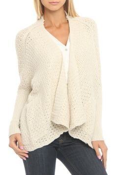 RD Style Open Chunky Cardigan in White Beach - Beyond the Rack