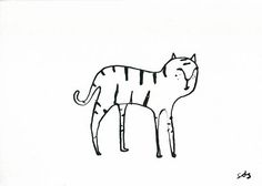 Original Line Drawing Tiger Ink Artwork A4 Minimalist Art