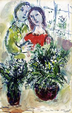 Marc Chagall (1887-1985) - Couple with Lilies of the Valley (Le Couple aux Muguets) (1973)