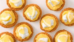 This cheat's version of classic custard tarts has a lemony twist and uses a muffin pan and packet of butternut snap cookies to create the bases. No Cook Desserts, Lemon Desserts, Lemon Recipes, Tart Recipes, Easy Desserts, Sweet Recipes, Delicious Recipes, Muffin Recipes, Yummy Food