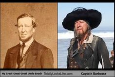 My Great-Great-Great Uncle Enoch Totally Looks Like Captain Barbossa (Geoffrey Rush) Crazy Stupid, George Carlin, Double Take, Past Life, Pirates Of The Caribbean, Celebrity Look, Look Alike, Hollywood Stars, Vintage Photographs