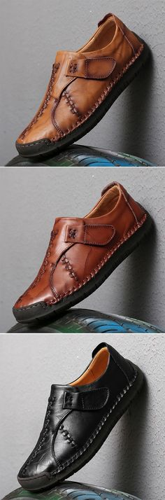 US$43.8 Men's Vintage Hand Stitcing Hook-Loop Genuine Leather Loafers