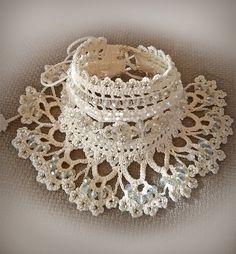 Free shipping.Wedding Jewelry.Beige beaded cuff by Emeliebeads