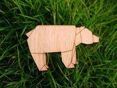 origami wooden brooch
