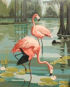Vintage paint by number flamingo/orig pinner It was such a treat when my mom & dad would give me one of these. Way better than coloring books! Flamingo Painting, Flamingo Art, Pink Flamingos, Painting Abstract, Number Art, Vintage Florida, Pink Bird, Bird Art, Beautiful Birds