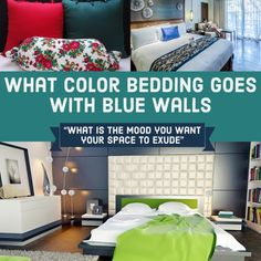 Check out these five color suggestions and examples of bed sets to find bedding that goes with blue walls. See specific bedding sets to help you choose. #bluedecor #bedroomdecor #bedding #funkthishouse