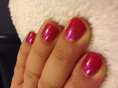 Pretty nails, Shellac nails with pink additive at the cuticle and fine shimmer top coat